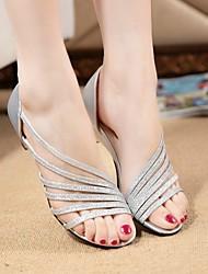 Damen-Sandalen-Lässig-PU-Blockabsatz-Komfort-Lila / Silber / Gold