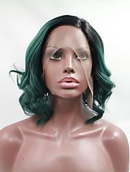 sylvia laço sintético frente peruca Black Roots cabelo calor verde comprimento médio resistente ondulado bob perucas sintéticas