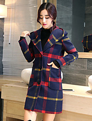 Women's Casual/Daily Simple Coat,Plaid Long Sleeve Red Polyester