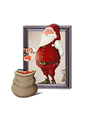 3D Santa Claus And Gifts Hole PVC  Decorative Skin Wall Stickers
