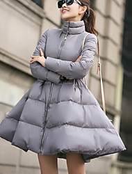 Women's Regular Padded Coat,Street chic Going out Solid-Polyester Polyester Long Sleeve Turtleneck Black / Gray / Yellow