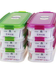 recipiente com fecho de longo prazo de armazenamento de alimentos com 3 compartimento (1.5l * 3p)
