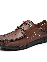 Men's Oxfords Summer Comfort Leather Casual Low Heel Lace-up Split Joint Blue Brown Coffee Others