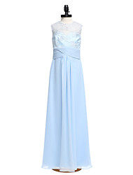2017 Lanting vestido longo bride® chiffon / rendas dama de honra júnior bainha / jóia coluna com cruz criss / ruching