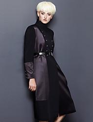 Damen Etuikleid Kleid-Ausgehen / Lässig/Alltäglich Einfach Patchwork Ständer Midi Langarm Schwarz Polyester / Elasthan Herbst / Winter