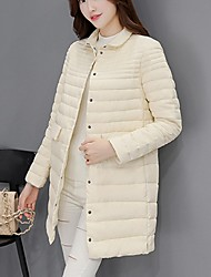 Women's Long Padded Coat,Simple / Cute / Street chic Going out / Casual/Daily Solid-Cotton White Duck Down Long Sleeve Stand Multi-color