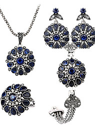 2016 Vintage Turkish Jewelry Sets Sapphire Flower Pendant Antique Plated Princess Bracelet Ring necklace  earring set