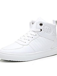 Masculino-Botas-Conforto-Rasteiro-Preto / Branco-Microfibra-Casual