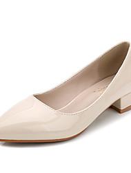 Damen-High Heels-Kleid-Kunstleder-Blockabsatz-Komfort-Schwarz / Weiß / Mandelfarben
