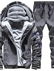 Hoodie Jacket Homme Grandes Tailles Sportif Chic de Rue Couleur Pleine Mosaïque Doublure Polaire Micro-élastique Coton PolyesterManches