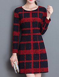 Women's Casual/Daily Vintage Sheath DressPlaid Round Neck Above Knee Long Sleeve Red / Black Polyester All Seasons