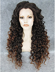 IMSTYLE 26'' Beautiful Black Brown Ombre Long Curly Synthetic Wigs Lace Front For Black Women