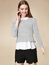 Women's Casual/Daily Simple Fall Blouse,Striped Crew Neck Long Sleeve White Cotton Thin