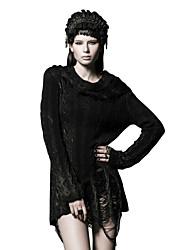 PUNK RAVE M-026 Women's Punk & Gothic Regular Pullover Solid Black Turtleneck Long Sleeve sweater