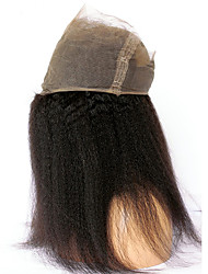 360 Frontal kinky straight Human Hair Closure Medium Brown French Lace 75g-95g gram Average Cap Size