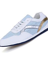 Masculino-Tênis-Conforto-Rasteiro-Cinza / Bege / Azul Real-Couro Ecológico-Para Esporte