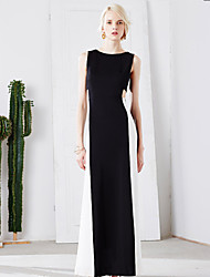 MASKED QUEEN Women's Casual/Daily Simple Shift DressSolid Round Neck Maxi Sleeveless Black Nylon Summer