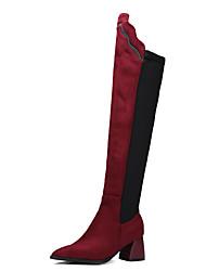 Damen-Stiefel-Kleid Lässig Party & Festivität-Nylon Vlies-BlockabsatzSchwarz Rot
