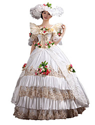 One-Piece/Dress Gothic Lolita Classic/Traditional Lolita Steampunk® Victorian Cosplay Lolita Dress Floral Long Length Dress Hat ForLace
