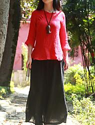 Feminino Camisa Casual Chinoiserie Primavera / Outono,Sólido Vermelho Linho Decote Redondo Manga ¾ Fina
