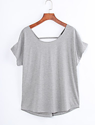 Women's Solid Gray Blouse,Round Neck Short Sleeve