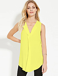 Women's Plus Size / Casual/Daily Chiffion Loose Sexy / Simple Summer / Fall Tank TopSolid V Neck Sleeveless