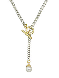 New Simple Metal Chain Necklace with Imitation Pearl
