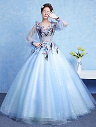 Ball Gown V-neck Floor Length Tulle Formal Evening Dress with Appliques Flower(s)