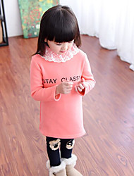 Girl's Casual/Daily Solid DressCotton Winter / Spring / Fall Black / Pink / White