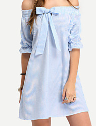 Women's Going out / Casual/Daily / Formal Sexy / Simple / Cute A Line Dress,Solid Boat Neck Above Knee ¾ Sleeve Blue / Pink LinenFall /