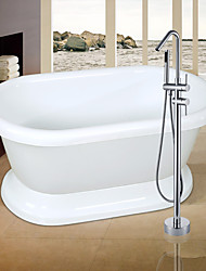 Modern Tub And Shower Waterfall / Widespread / Floor Standing with  Ceramic Valve Two Handles One Holefor