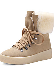 Women's Boots Fall / Winter Comfort Suede Party & Evening / Dress / Casual Platform Fur / Lace-up Black / Camel / Beige Others