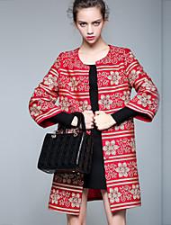 Feminino Casaco Casual Sofisticado Outono / Inverno,Bordado Vermelho OutrosManga ¾