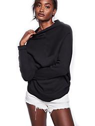 Normal Pullover Femme Sortie / Décontracté / Quotidien Vintage / Chic de Rue,Couleur Pleine Noir Col Arrondi Manches LonguesLaine /