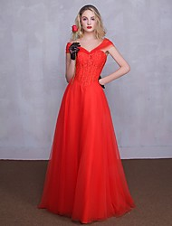 Formal Evening Dress A-line Sweetheart Floor-length Tulle with Lace