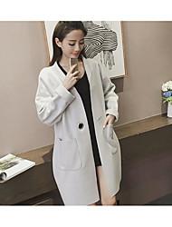 2016 Autumn new Korean version of a solid color buckle pocket long section woolen coat