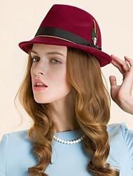 Women's Feather Wool Headpiece-Wedding Casual Outdoor Fascinators Hats 1 Piece