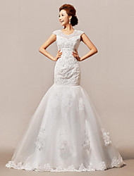 Fit & Flare Wedding Dress Court Train Jewel Lace / Satin / Tulle with Lace / Sequin