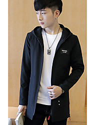 Men's Casual/Daily Simple Jackets,Solid Hooded Long Sleeve Winter Blue / Black Polyester Thick