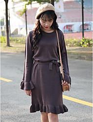 Damen Lang Pullover-Lässig/Alltäglich Einfach Solide Lila Rundhalsausschnitt Langarm Polyester Herbst Winter Mittel Mikro-elastisch