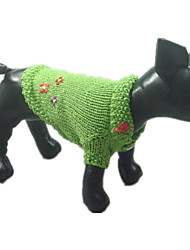 Dog Sweater Dog Clothes Keep Warm Flower Green
