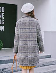 2016 inverno novo longa seção coreana solta xadrez casaco de lã lã retro feminino casaco de lã
