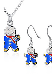 Cute Snowmen Jewelry Sets NecklaceEarrings for Women Girls Aretes Wholesale Free Shipping Christmas Gifts Bijoux PCS923