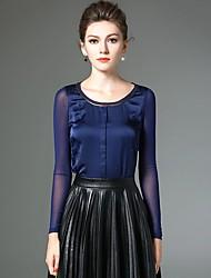 Feminino Camiseta Informal / Tamanhos Grandes Simples Primavera,feito à mão Azul / Preto Poliéster / Fibra Sintética / ElastanoDecote