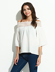 Women's Casual/Daily Simple Summer Blouse,Solid Boat Neck ½ Length Sleeve White / Black Cotton / Others Thin
