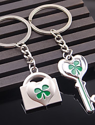 Stainless Steel Wedding Keychain Favors-2 Piece/Set Couples Keychains Beach Theme Non-personalised Key Lock Heart Design