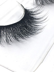 3D Eyelashes lash Full Strip Lashes Eyes Thick Lifted lashes / Volumized Handmade Fiber Black Band 0.07mm