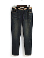 Women's Straight Jeans Pants,Going out Simple Solid Mid Rise Zipper Linen Micro-elastic Fall