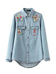 Feminino Camisa Social Casual SimplesBordado Azul Poliéster Colarinho de Camisa Manga Longa