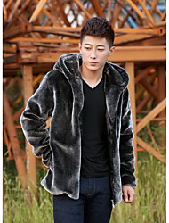 Men's Casual/Daily Vintage / Street chic Fur Coat,Solid Hooded Long Sleeve Winter Gray Faux Fur Medium